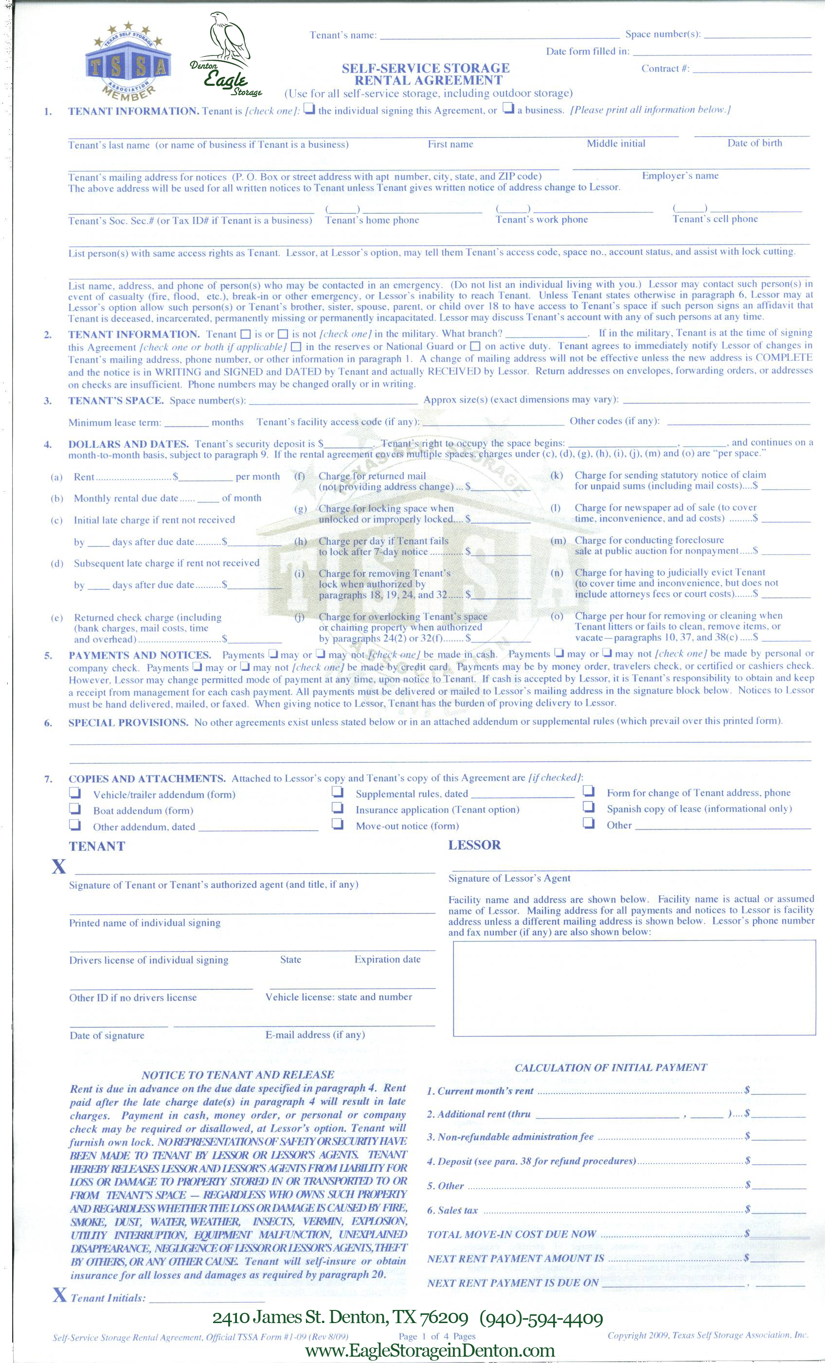 Storage lease agreement california house